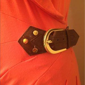 Cache Dresses - Orange Cache wrap dress, size 4, leather belt